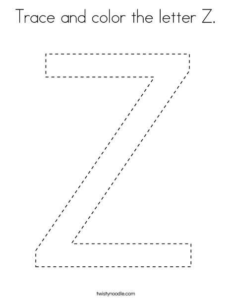 Trace and color the letter Z. Coloring Page