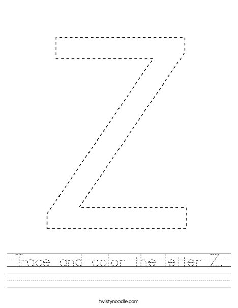 Trace and color the letter Z. Worksheet