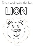 Trace and color the lion. Coloring Page