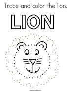 Trace and color the lion Coloring Page