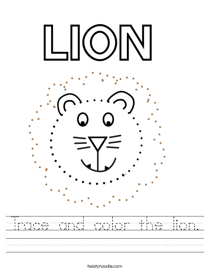 Trace and color the lion. Worksheet