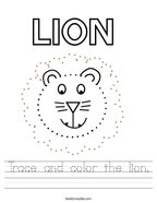 Trace and color the lion Handwriting Sheet