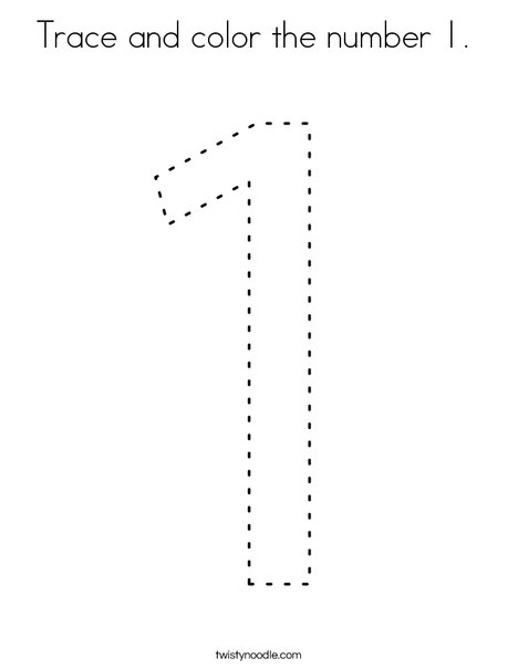 Trace and color the number 1. Coloring Page