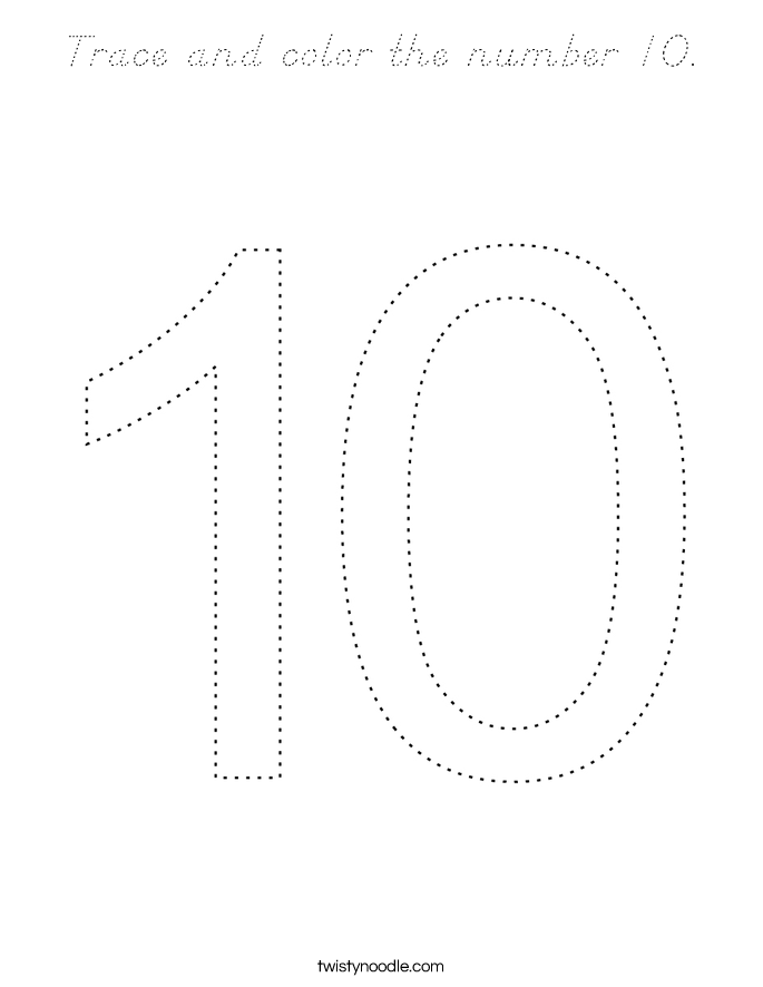 Trace and color the number 10. Coloring Page