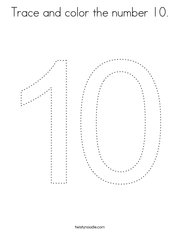 Trace and color the number 10 Coloring Page