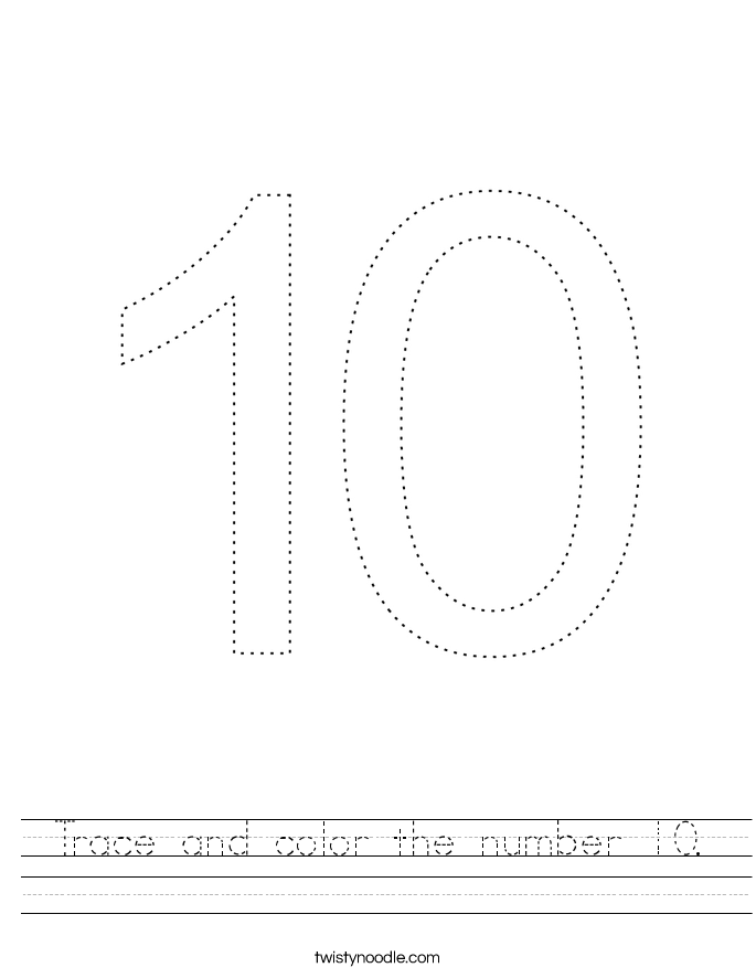 Trace and color the number 10. Worksheet