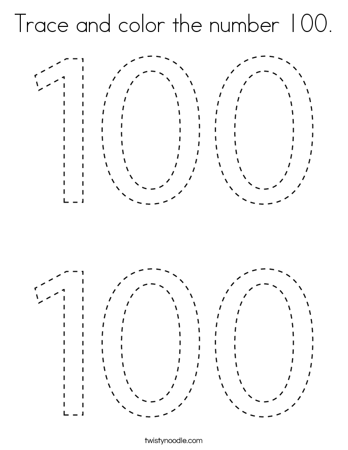 Trace and color the number 100. Coloring Page
