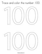 Trace and color the number 100 Coloring Page