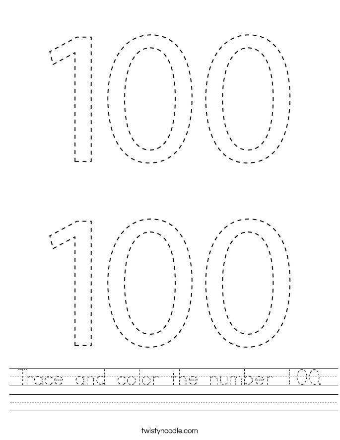 Trace and color the number 100. Worksheet