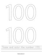 Trace and color the number 100 Handwriting Sheet