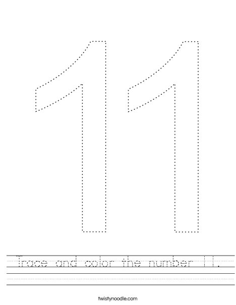 Trace and color the number 11. Worksheet