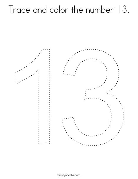 Trace and color the number 13. Coloring Page