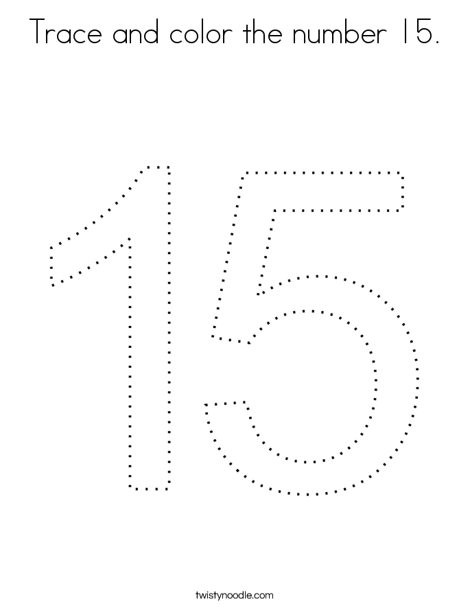 Trace and color the number 15. Coloring Page