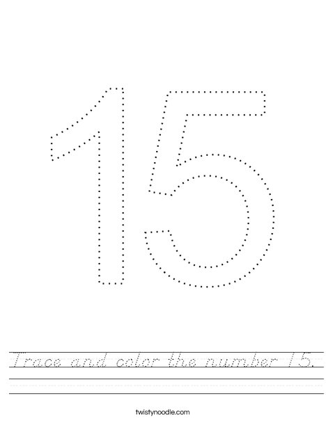 Trace and color the number 15. Worksheet