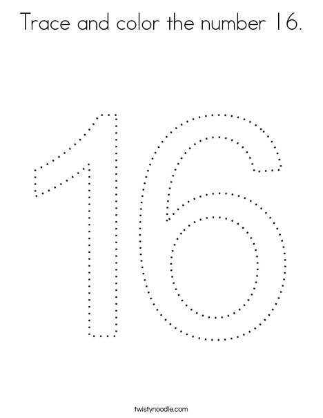 Trace and color the number 16. Coloring Page