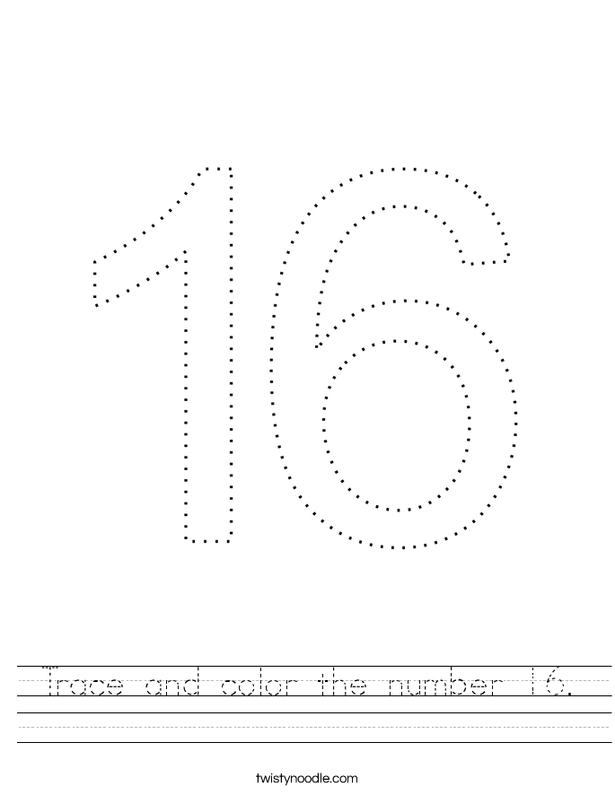 Trace and color the number 16. Worksheet