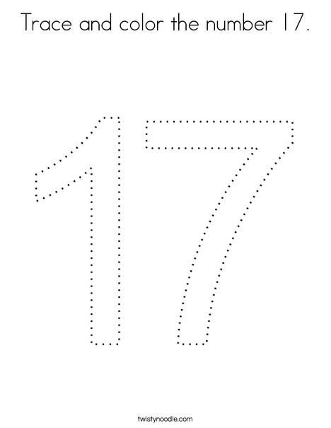 Trace and color the number 17. Coloring Page