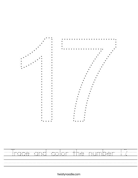 Trace and color the number 17. Worksheet