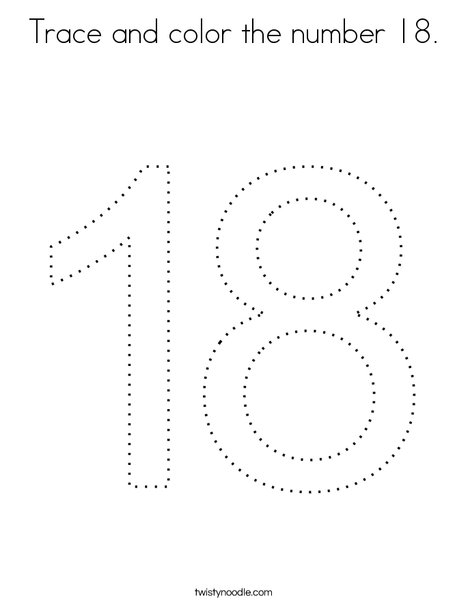 Trace and color the number 18. Coloring Page