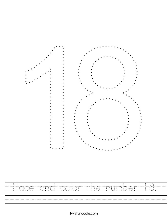 Trace and color the number 18. Worksheet