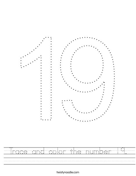 Trace and color the number 19. Worksheet