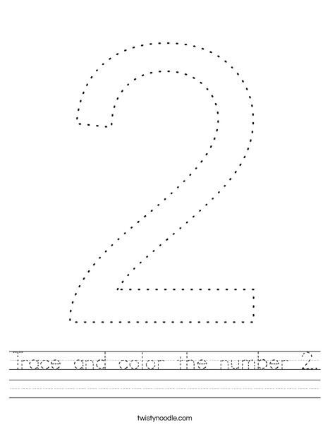 Trace and color the number 2. Worksheet