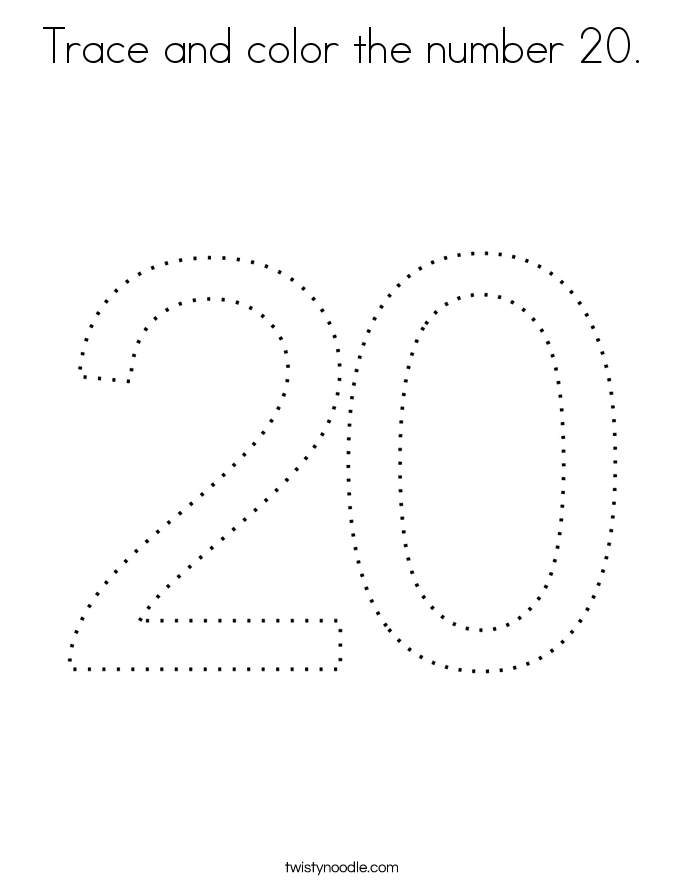 Trace and color the number 20. Coloring Page
