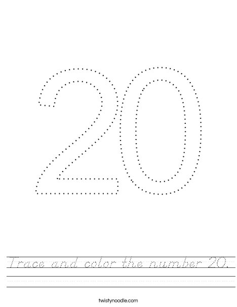 Trace and color the number 20. Worksheet