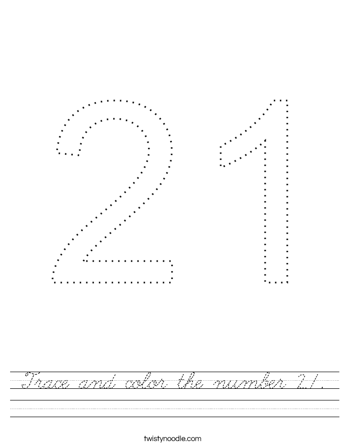 Trace and color the number 21. Worksheet