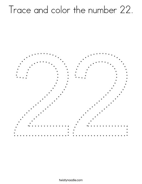 Trace and color the number 22. Coloring Page
