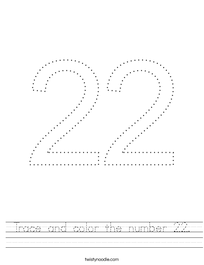 Trace and color the number 22. Worksheet