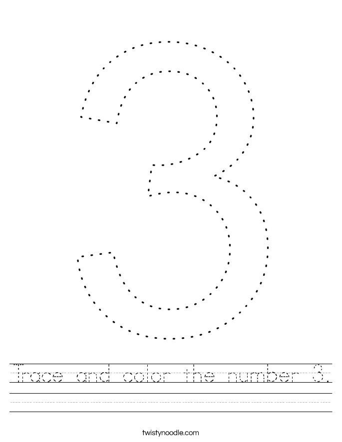 Trace and color the number 3. Worksheet