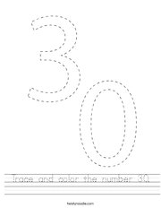 Trace and color the number 30 Handwriting Sheet