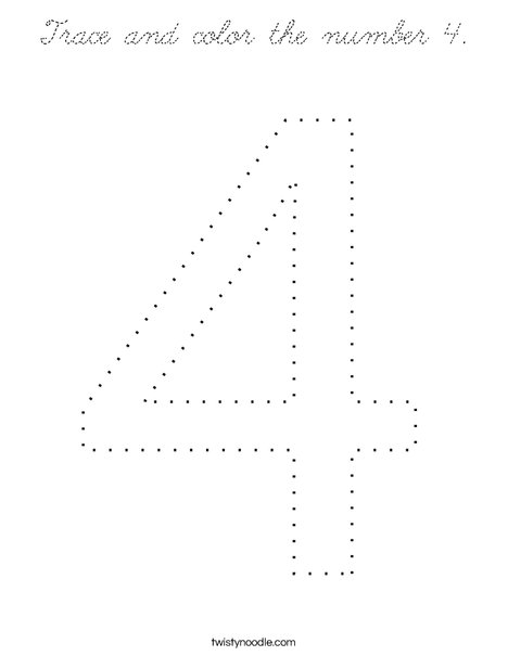Trace and color the number 4. Coloring Page