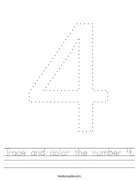 Trace and color the number 4. Worksheet