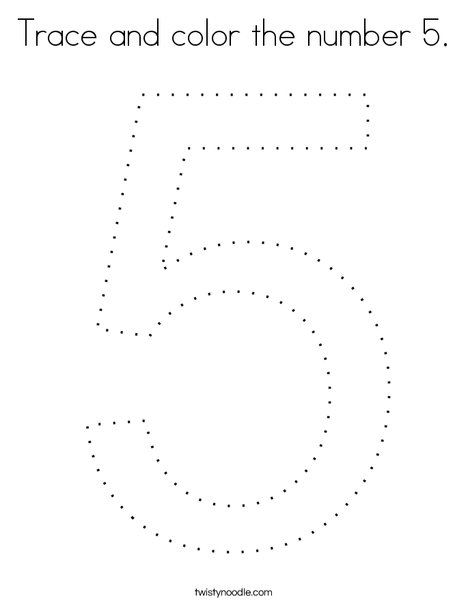 Trace and color the number 5. Coloring Page