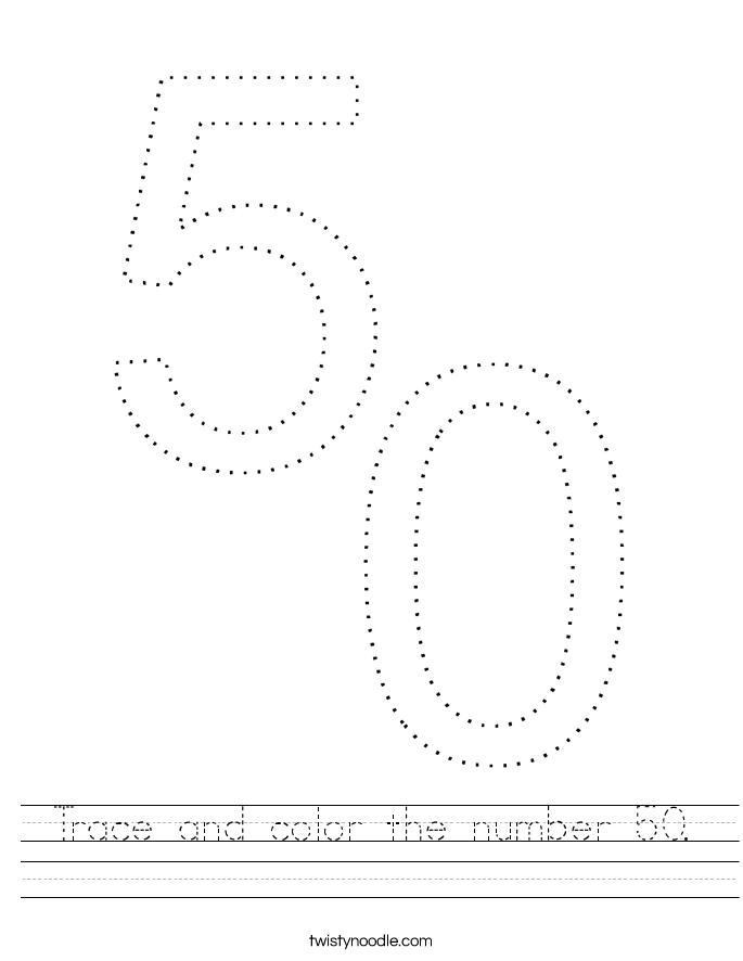 Trace and color the number 50. Worksheet