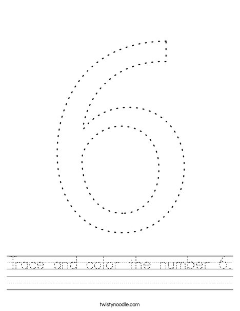 Trace and color the number 6. Worksheet