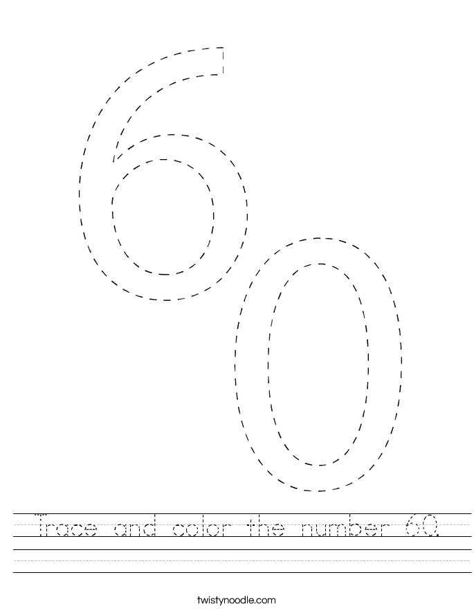 Trace and color the number 60. Worksheet