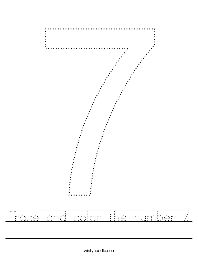 Trace and color the number 7. Worksheet
