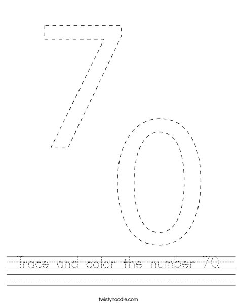 Trace and color the number 70. Worksheet
