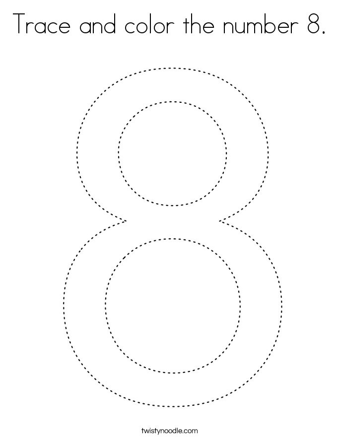Trace and color the number 8. Coloring Page