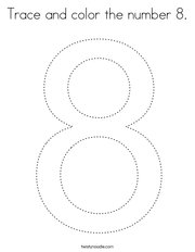Trace and color the number 8 Coloring Page
