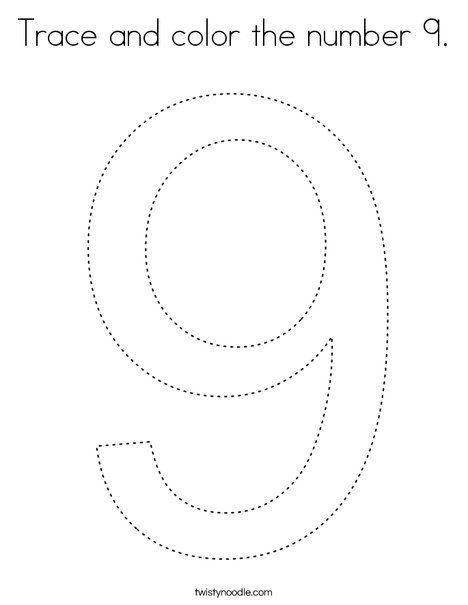 Trace and color the number 9. Coloring Page