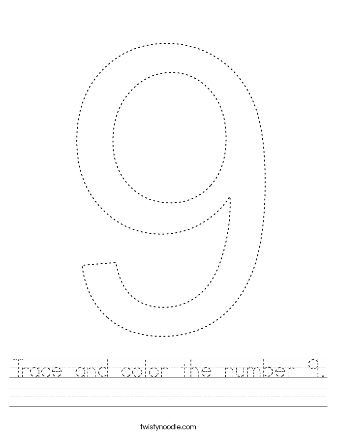 Trace and color the number 9. Worksheet