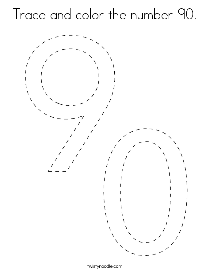 Trace and color the number 90. Coloring Page