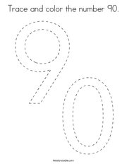 Trace and color the number 90 Coloring Page