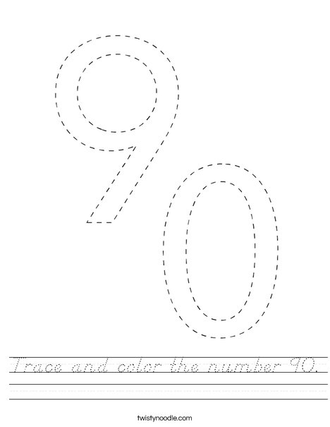 Trace and color the number 90. Worksheet