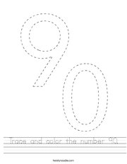 Trace and color the number 90 Handwriting Sheet