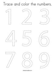 Trace and color the numbers Coloring Page